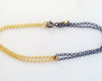 Harmony Bracelet, Sterling Silver and Goldfield, Handmade Bracelet, Yoga Jewelry