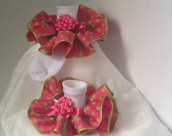 Girls hot pink and lime ruffle trim