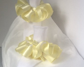 Girls yellow satin ruffle trim