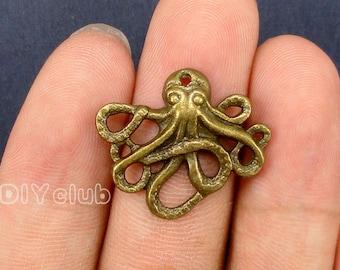 25pcs of Antique Bronze Octopus Charms pendants  24x21mm