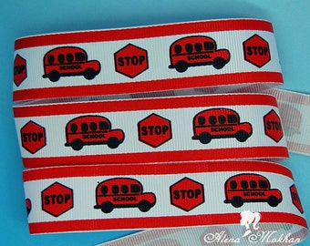 "6 6/8 yards 1"" School Bus Stop Printed Grosgrain Ribbon"