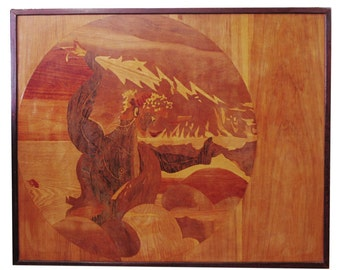 Zeus Mid Century Modern Wood Inlay Art by L. Kuchler, Circa 1973