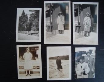 Vintage Photos, 1920's Women, Fashion, Lot of Six