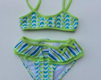 Green and Blue Print Bikini (Childrens Size 6-9mo)