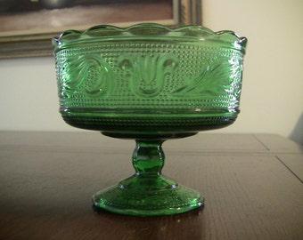 Stunning Emerald Green Pressed Glass Pedestal Serving Bowl