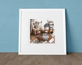 MOULIN A CAFE - art print with still life illustration drawing for home decor and design