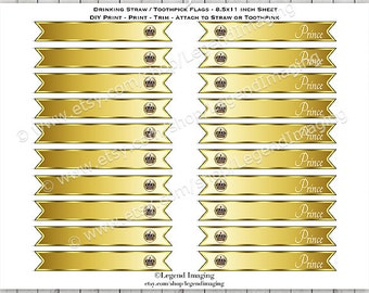 Gold Royal Prince Straw or Toothpick Flags