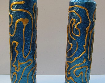 CLEARANCE SALE - Pair Of Retro Modern Vases - Metallic Blue & Gold - Painted Glass