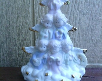 Sweet  Angels form a Tree Figurine Table Night Light.