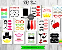 Printable Photo Booth Props–59 Pieces-Instant Download–Printable Classic Photo Props-Mustaches–Lips–Glasses–Ties–Crowns–Photo Booth–Xxl Pack