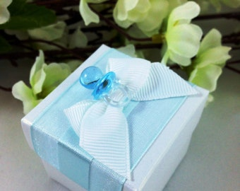 25 Baby Blue Favor Box, Baby Shower
