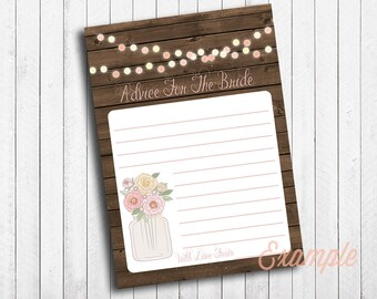 Bridal Shower Advice For Bride Mason Jar Wood Vintage Flowers With String Lights Instant Download Digital File Rustic Shabby