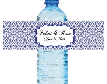 100 Baroque Navy Blue Wedding Anniversary Water Bottle Labels Great for Engagement Bridal Shower Party