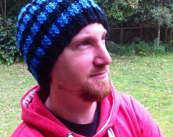Men's black and blue stripped beanie