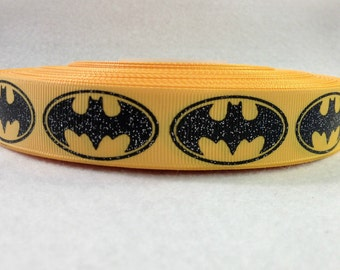 7/8 Yellow and Black Glitter Batman Grosgrain Ribbon