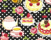 "Cakes and Polka Dots BLACK 100% Cotton ~ 42"" Wide ~ Sold by the Yard"