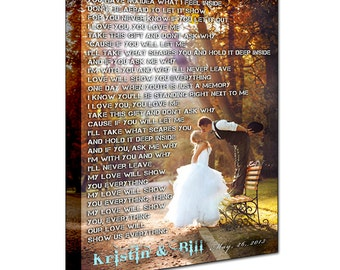 Wedding Canvas Print. Gallery Wrapped. First dance, Wedding Songs, Lyrics. Anniversary Gift. Perfect Custom Wall Decor.