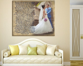 Wedding Canvas Print. Gallery Wrapped. First dance, Wedding Songs, Lyrics. Anniversary Gift. Perfect Custom Wall Decor. 16x16  up to 40x40