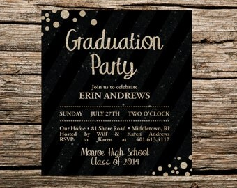 Glittered Graduation Invitation, Graduation Invitation, Glittered Invitation, Graduation Party Invitation, Glitter Invitation, Glittered