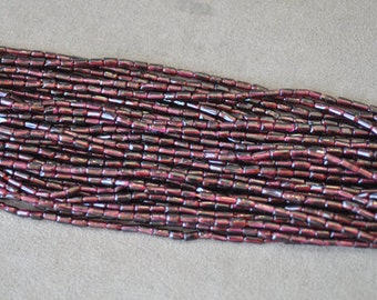 Red garnet tube shape 3x8mm 16 inches strand