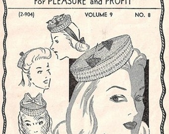 Workbasket 2-904 Vol. 9 No. 8 Crocheted Pillbox Hat / ca. 1944