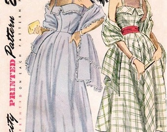 Simplicity 2742 Evening Extravaganza Dress & Stole / ca. 1949 / SZ12 COMPLETE