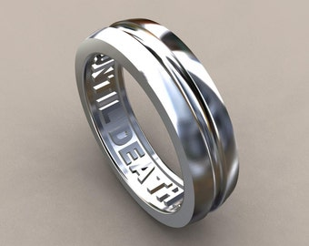 Silver 6mm Mens Wedding Band, 925 Sterling Silver Until Death Hidden Message Mens Ring, Simple Mens Wedding Ring, Rustic Mens Wedding Band