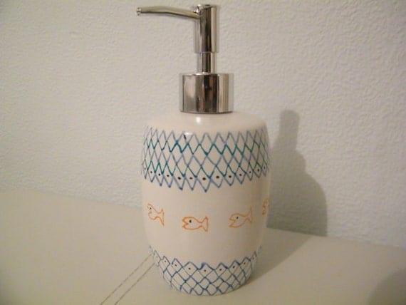 Soap Dispenser Ceramic Blue Soap By Crystalglassdesigns On Etsy