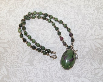 Ruby In Zoisite Necklace | .925 Sterling Silver | Woodland | Dryad | Free Shipping & Gift Box/Bag