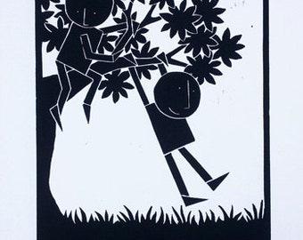Climbers 2 ~ Original Linocut print