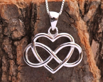 Sterling Silver Infinity Heart Necklace|Sterling Silver Infinity Knot Necklace|Infinity Knot Necklace|Infinity and Heart Necklace|Infinity