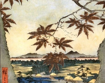 Maple Leaves and the Tekona Shrine and Bridge at Mama Hiroshige Japanese woodblock print reproduction