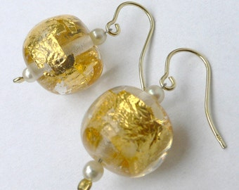 Earrings 585 ct. Gold hook handmade glass beads with 24 ct. Gold