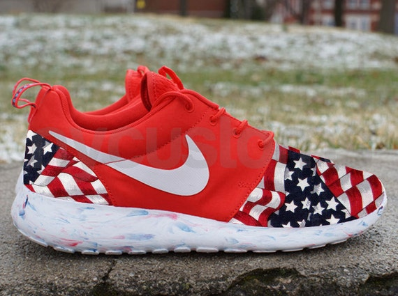 Restocked Sizes Nike Roshe Run Red Marble American By