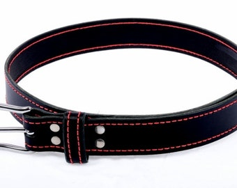 Handmade Mans Black Leather Belt With Red Stitch Detail.  Mans Black  Leather Belt With Stainless Steel Buckle Made By Leather Meister