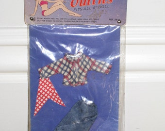 """Vintage 1981 NASTA Doll Outfit for Tiny 4"""" Doll in Original Package"""