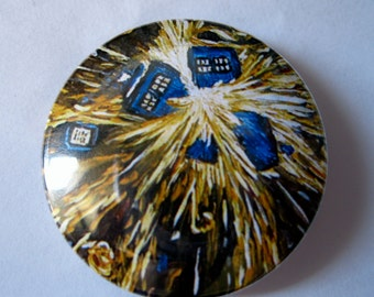 Doctor Who Van Gogh Tardis Explosion Pinback Button or Magnet  or Keychain | Dr Who pins | Fridge Magnet  | Dalek Whovian pin | Nerd Badge
