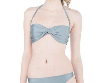Twisted Bandeau Bikini Steel Grey