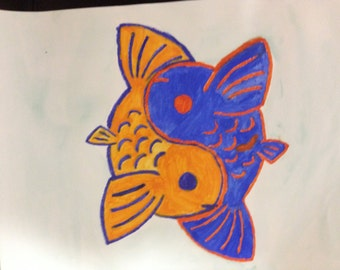 Blue & Orange Yin-Yang Koi Fish Watercolor Painting