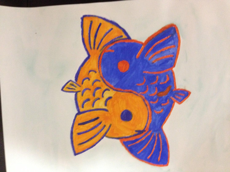 Blue orange yin yang koi fish watercolor by for Koi fish yin yang
