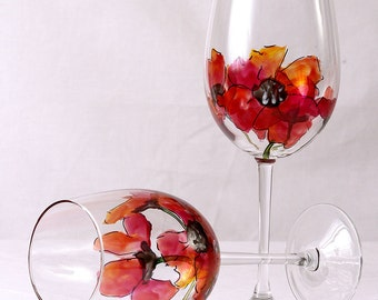 Poppies Wine Glasses Hand Painted