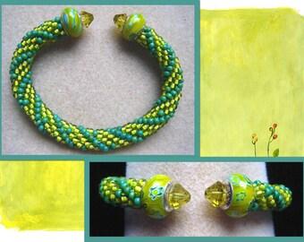Bangle Bracelet w. Euro Beads, Crafted One of a Kind!
