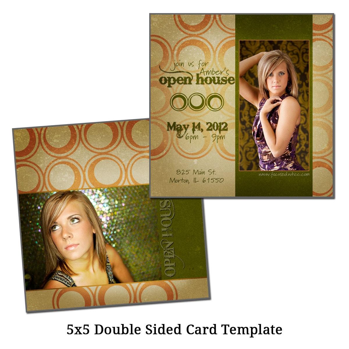 5x5 double sided card template stylish senior digital file. Black Bedroom Furniture Sets. Home Design Ideas