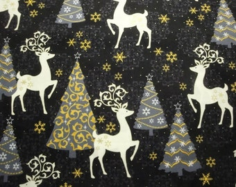 Celebrate The Season by Quilting Treasures-Black and Gold-Deer & Trees-BTY