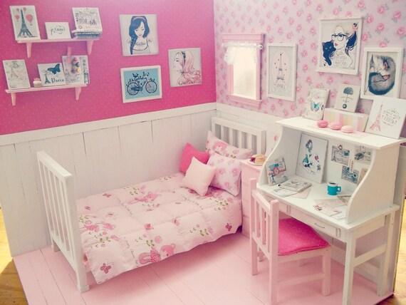 Chambre coucher poup e ooak diorama jour paris for Chambre kawaii