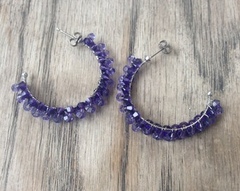 Sale:Swarovski crystal tanzanite and purple velvet hoop earrings