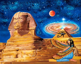 Egyptian Poster-Egyptian Pyramid-Isis-Horus-Keops