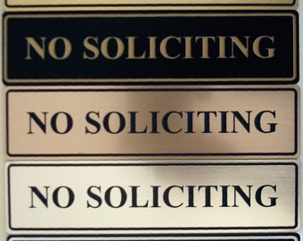 No Soliciting Sign (Rectangular) - Laser-Engraved - UV-Rated