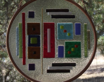 Stained Glass Window Panel Suncatcher - 8 Inch - Fused Abstract Contemporary Original Design - F853