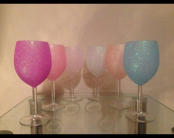 Glitter Wine glasses set of 6.